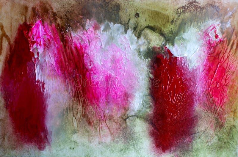 Pintura floral de acrílico de las rosas del boquet del extracto imagen de archivo libre de regalías