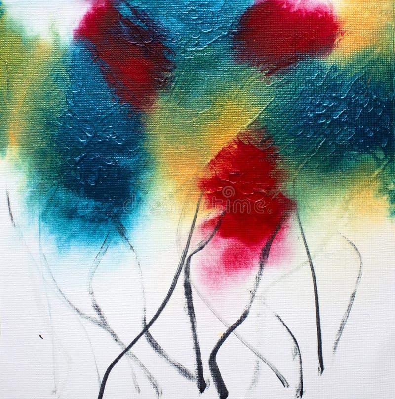 Pintura floral de los wildflowers cuadrados de acrílico del extracto en blanco fotografía de archivo