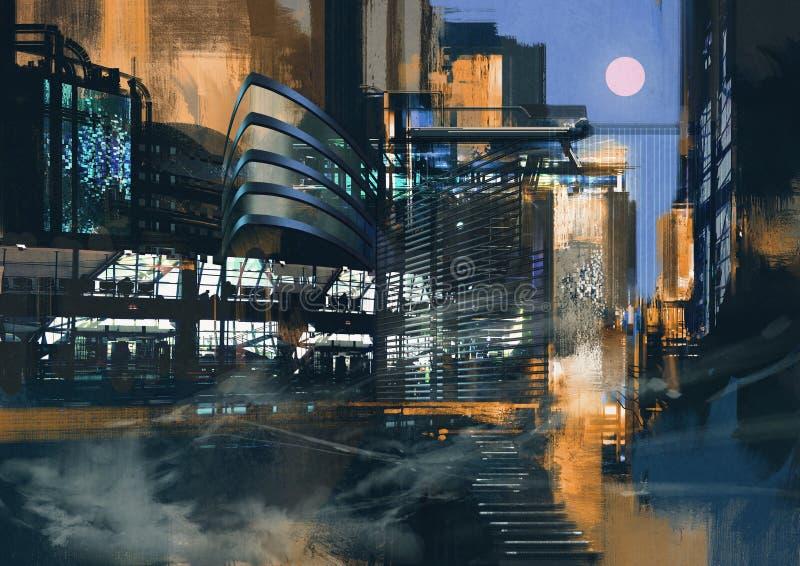 Pintura futurista de la ciudad ilustración del vector