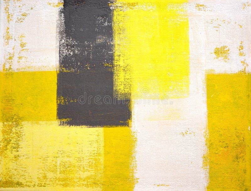 Pintura gris y amarilla del arte abstracto imágenes de archivo libres de regalías