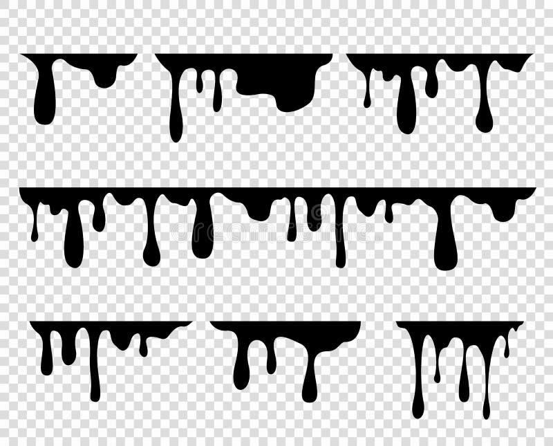 Pintura grossa de fluxo, caramelo, tinta Por muito tempo, gotas viscosos Elementos do vetor em um fundo transparente isolado ilustração stock