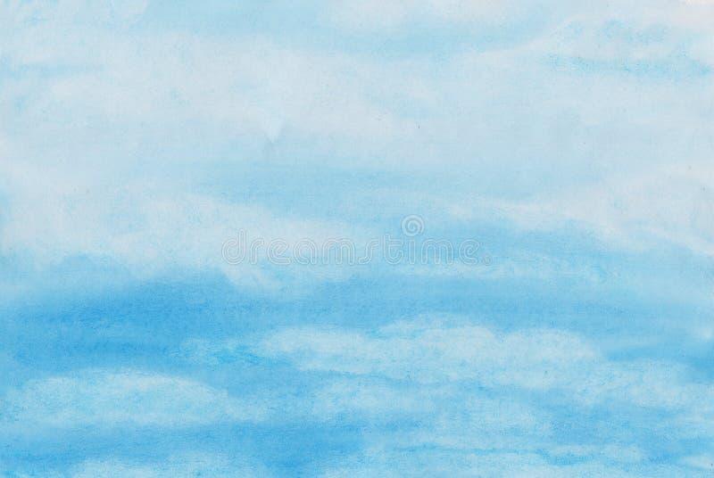 Pintura hecha a mano de la acuarela del cielo nublado stock de ilustración