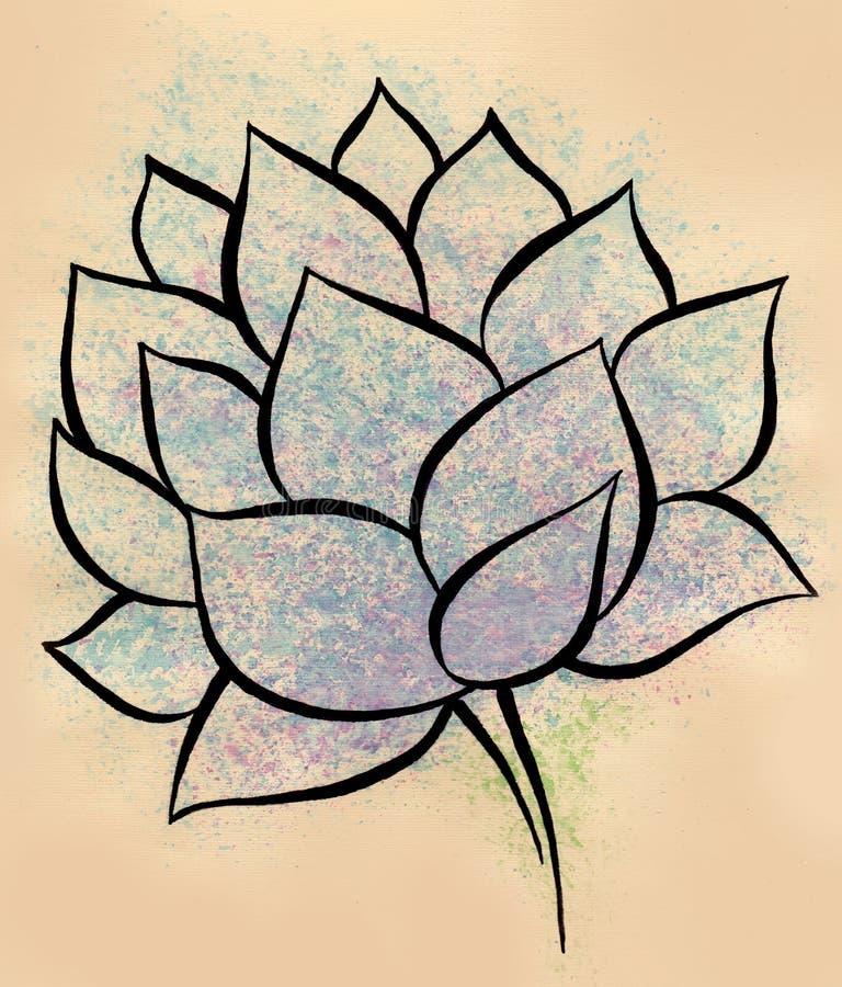 Pintura hecha a mano de la acuarela de la flor de Lotus stock de ilustración