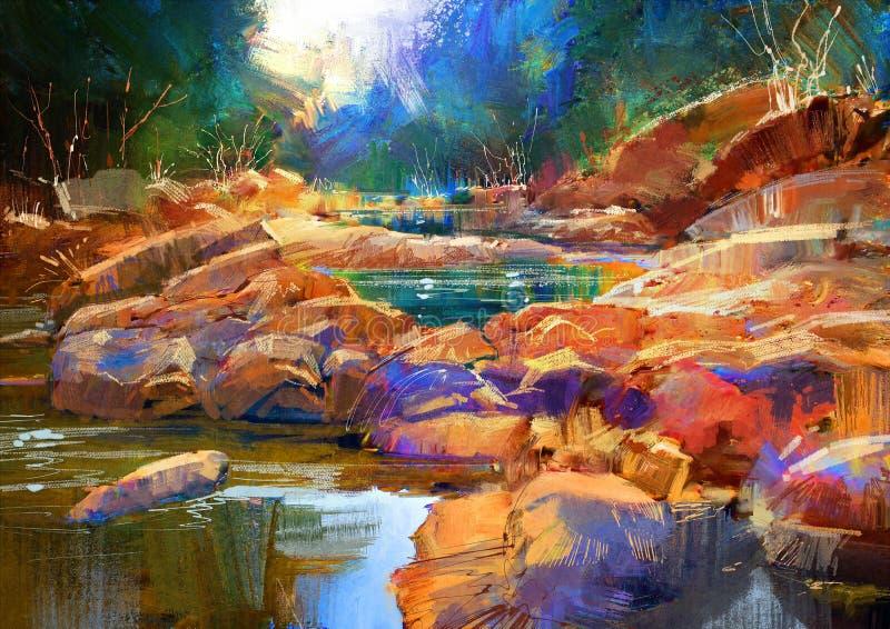 Pintura hermosa de la naturaleza stock de ilustración