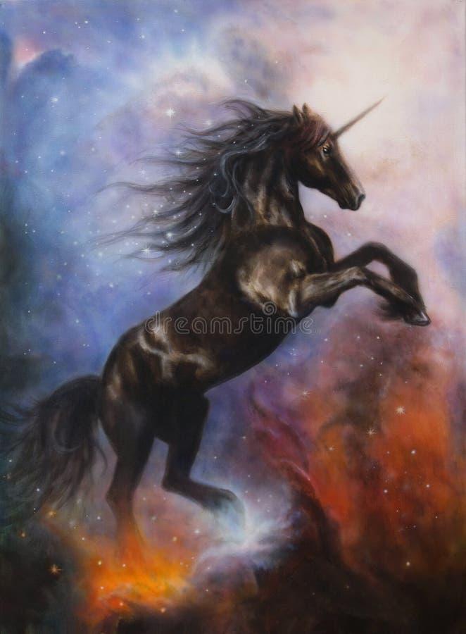 Pintura hermosa de un baile negro del unicornio en espacio stock de ilustración
