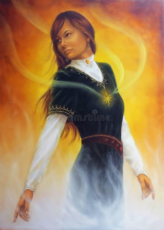 Pintura hermosa de una mujer joven en ropa medieval con ra ilustración del vector