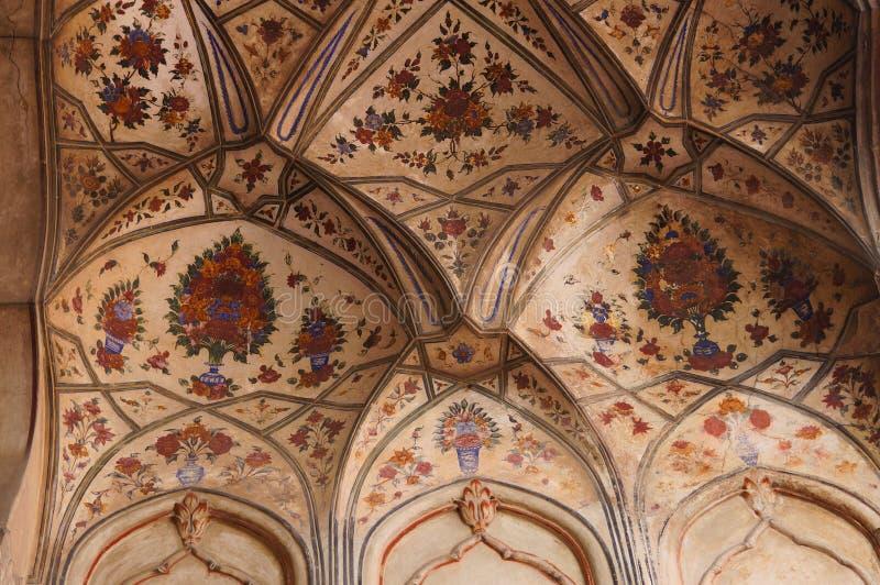Pintura hermosa en la mezquita de Badshahi en Lahore, Paquistán fotografía de archivo libre de regalías