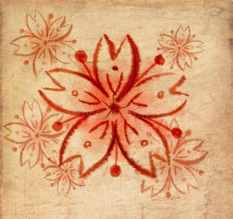 Pintura hermosa roja del cepillo de Sakura ilustración del vector