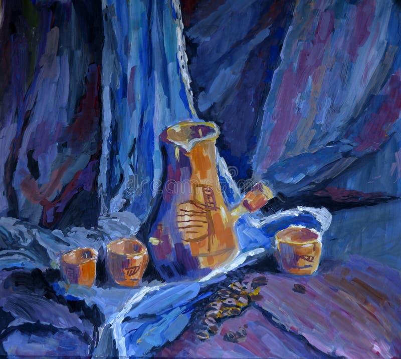 Pintura imóvel com copos do coffe, moedor da vida de café ilustração royalty free