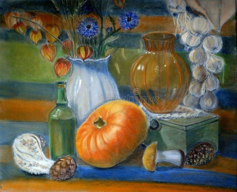 Pintura imóvel da vida com abóbora, vaso de vidro, alho, cogumelos ilustração royalty free