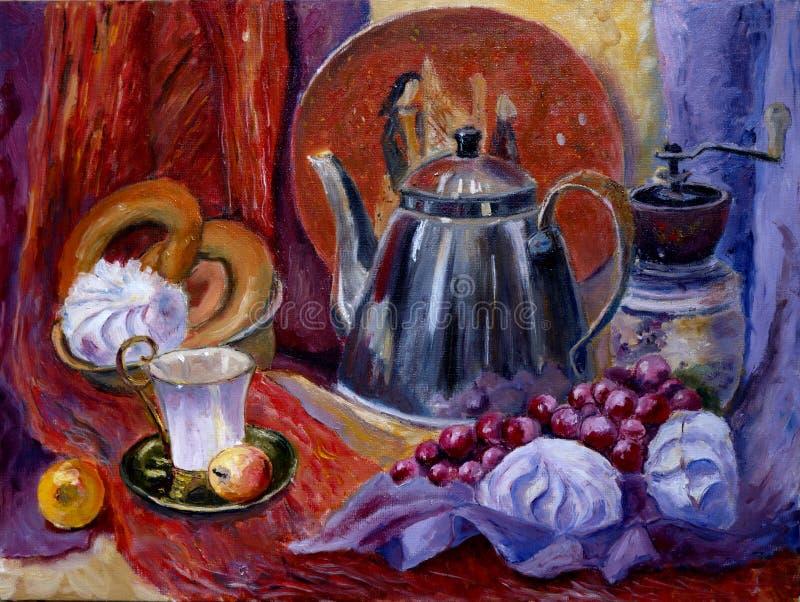 A pintura imóvel da vida com chaleira, pântano-mellows, copo de café, moedor de café ilustração stock