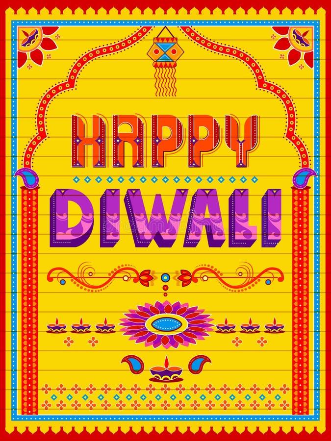 Pintura india colorida del camión en la tarjeta feliz de Diwali para el festival de la luz de la India stock de ilustración