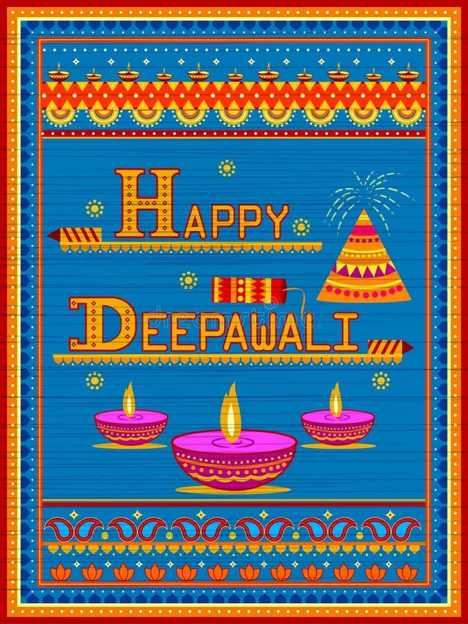 Pintura india colorida del camión en la tarjeta feliz de Diwali para el festival de la luz de la India libre illustration