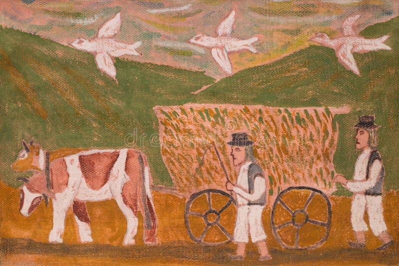 Pintura ingênua da vida da vila ilustração do vetor