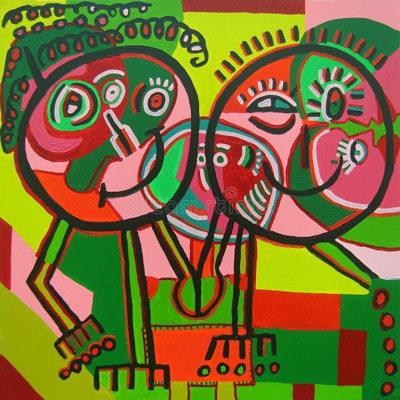 Pintura ingenua de los pares felices imagen de archivo