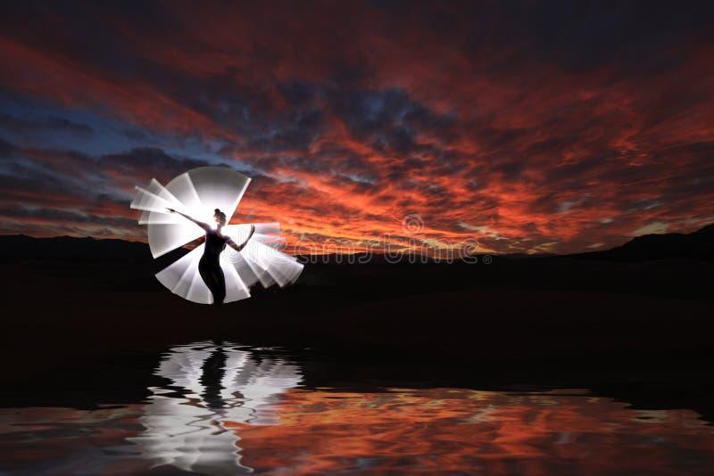 Pintura ligera creativa con la iluminación del tubo de color con paisajes imágenes de archivo libres de regalías