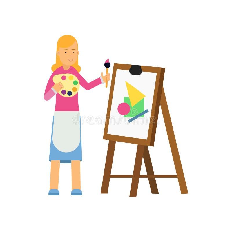 Pintura loura do caráter da mulher dos desenhos animados novos na lona Vector a ilustração lisa do projeto isolada no fundo branc ilustração royalty free