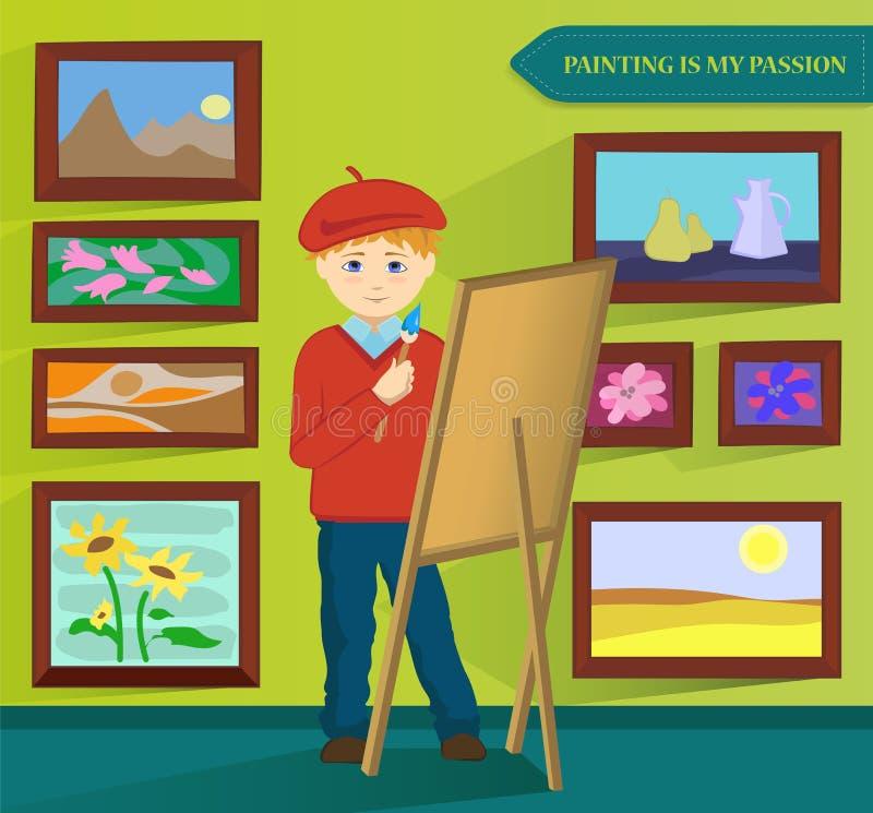 Pintura masculina do artista em sua sala de trabalho Vetor ilustração do vetor