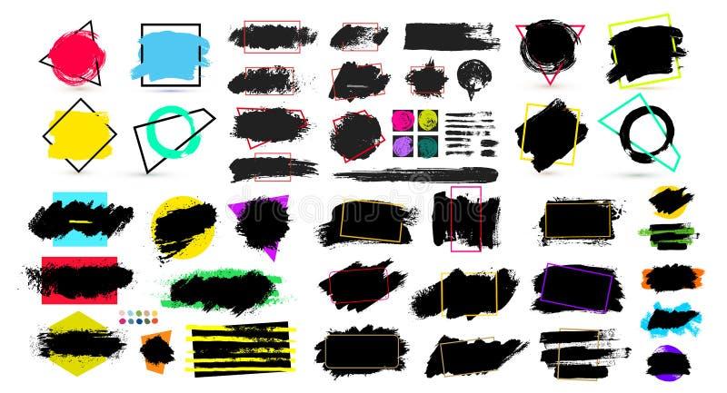 Pintura, movimiento del cepillo de la tinta, cepillo, línea o textura negra Elemento, caja, marco o fondo artístico sucio del dis stock de ilustración