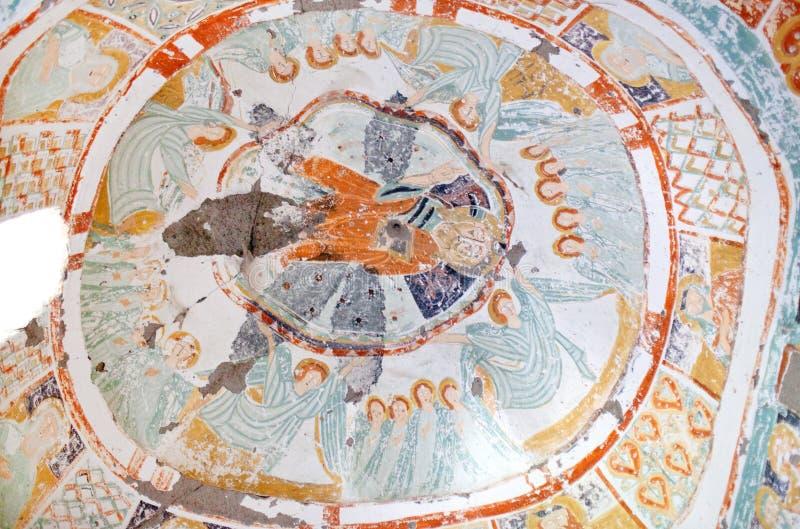 Pintura mural antigua en Agacalti Kilise, Cappadocia, Turquía foto de archivo