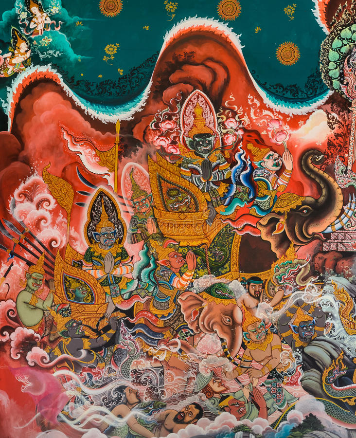 Pintura mural budista tailandesa fotos de stock