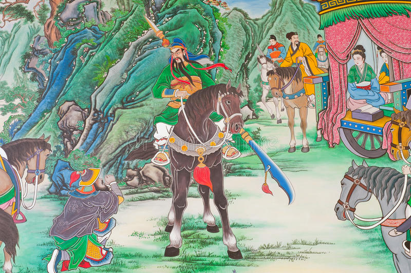 Pintura mural chinesa antiga. imagens de stock