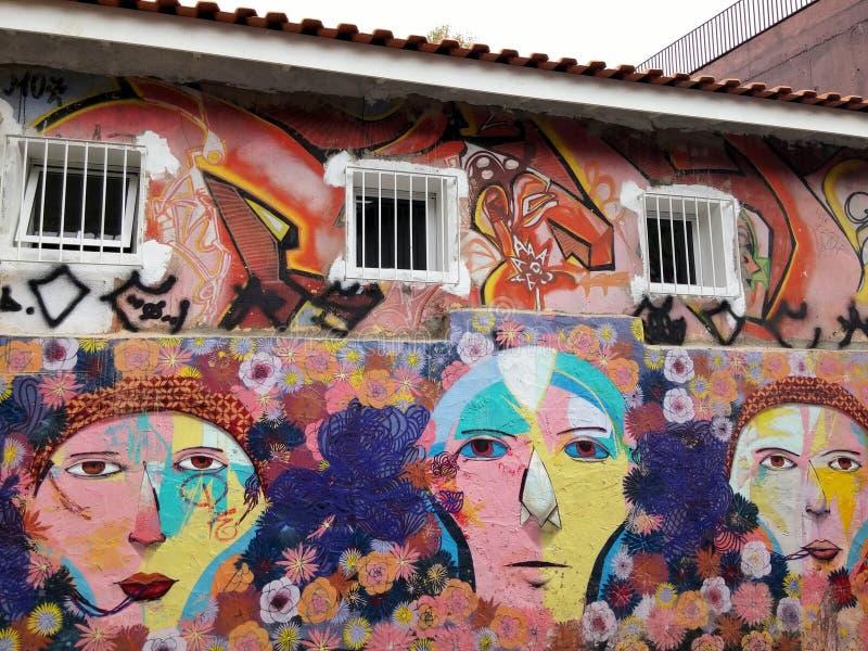 A pintura mural colorida da arte da rua sobre desenhos animados dos povos com flor múltipla dá forma fotografia de stock