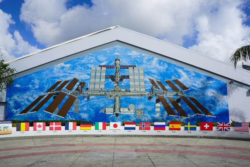Pintura mural da estação espacial internacional foto de stock royalty free
