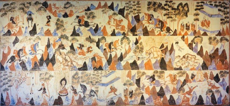 Pintura mural da gruta de Dunhuang imagem de stock