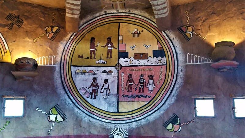 Pintura mural da serpente da sala do Hopi na torre de vigia de Grand Canyon imagem de stock