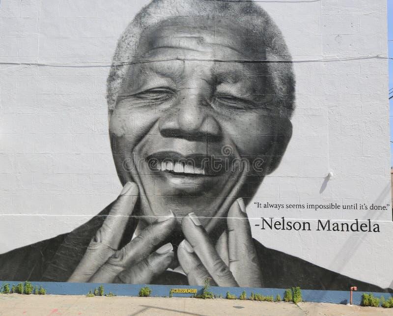 Pintura mural de Nelson Mandela na seção de Williamsburg em Brooklyn fotografia de stock