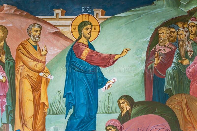 Pintura mural de pregar Jesus Christ em Tolga Monastery imagem de stock