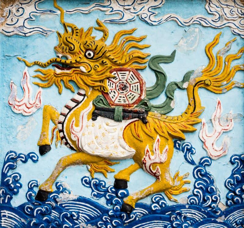 Pintura mural de Qilin foto de stock royalty free