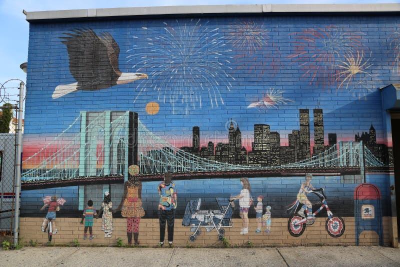 Pintura mural do Dia da Independência em Brooklyn fotos de stock