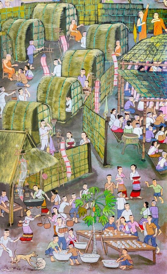 Pintura mural do estilo tailandês antigo de Lanna do festival budista imagem de stock