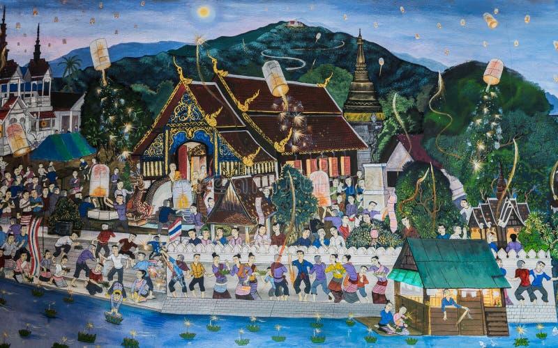 Pintura mural do estilo tailandês antigo de Lanna de Loy Kratong Festival fotografia de stock royalty free