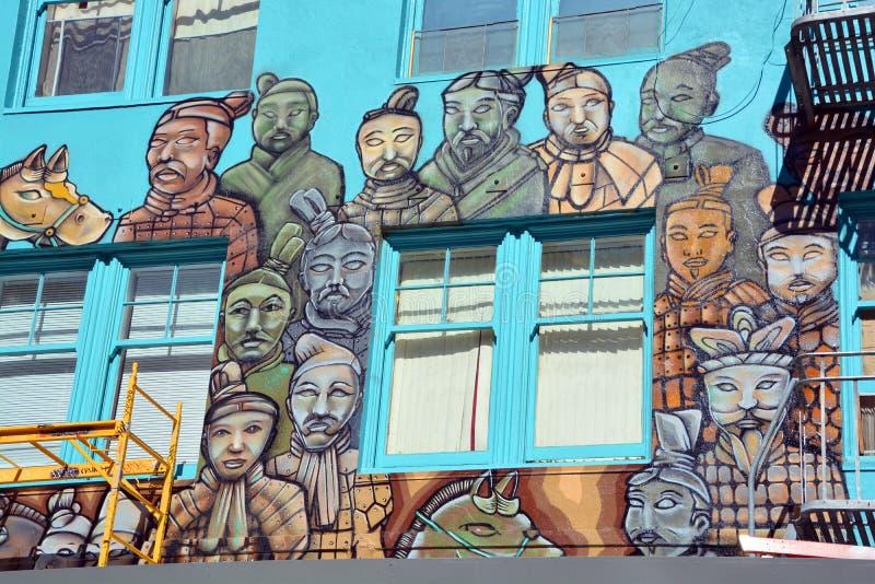 Pintura mural do exército da terracota fotos de stock