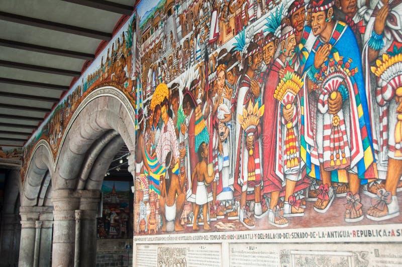 Pintura mural do palácio do governo em Tlaxcala (México) fotografia de stock royalty free