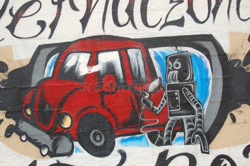 Pintura mural do robô e do carro em Portland, Oregon fotografia de stock royalty free