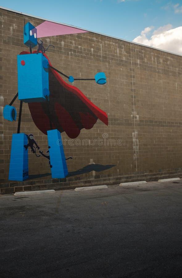 Pintura mural do robô em birmingham do centro Alabama imagens de stock