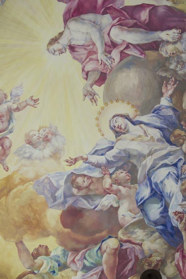 Pintura mural do teto em Royal Palace, Wroclaw, Polônia imagens de stock