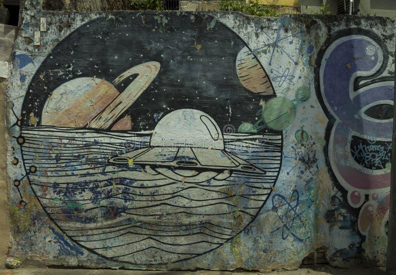 Pintura mural do UFO foto de stock