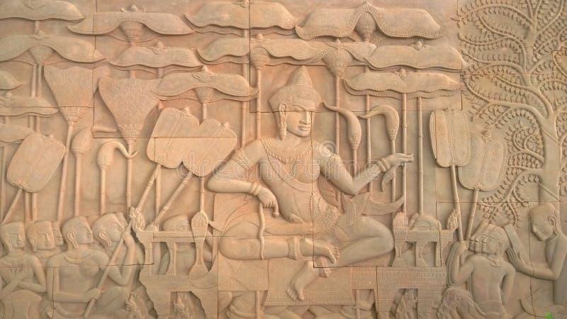Pintura mural em Angkor Wat, siemreap cambodia fotografia de stock