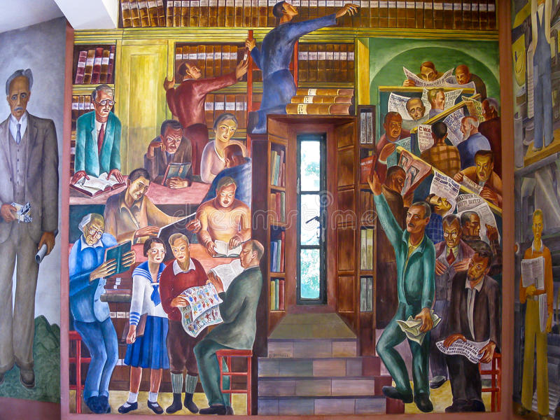 Pintura mural em Torre de Coit, San Francisco imagens de stock