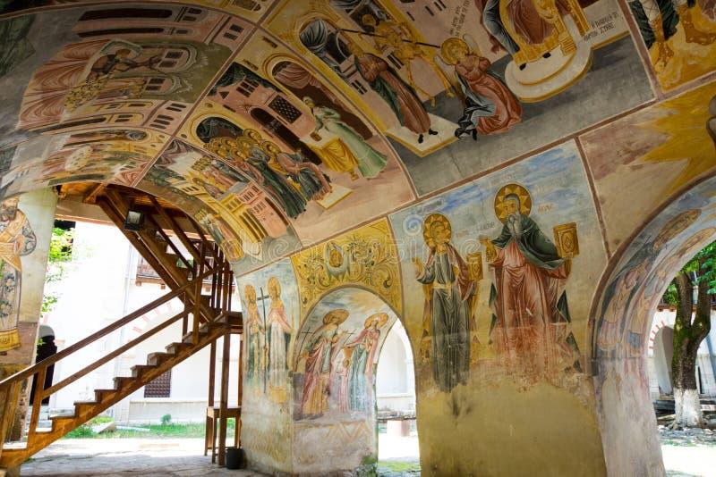 Pintura mural en el monasterio de Bachkovo en Bulgaria foto de archivo