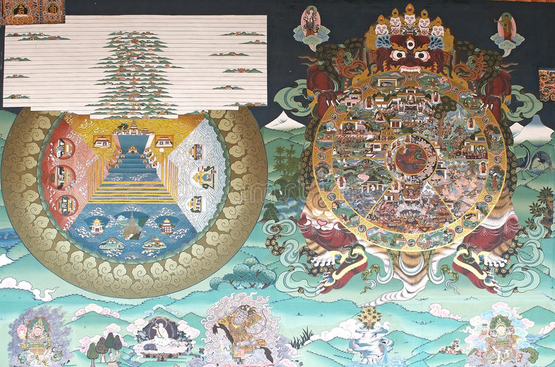 Pintura mural en el Trashi Chhoe Dzong, Timbu, Bhután imagenes de archivo