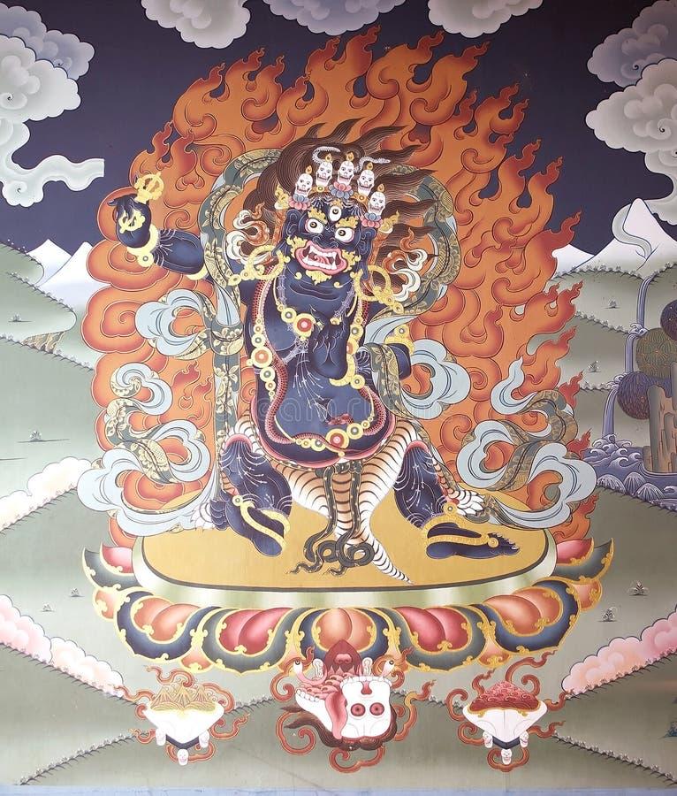 Pintura mural en el Trashi Chhoe Dzong, Timbu, Bhután imagen de archivo