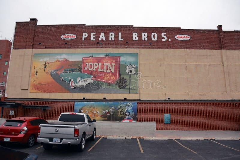 Pintura mural histórica de Route 66 em Joplin, MO fotografia de stock