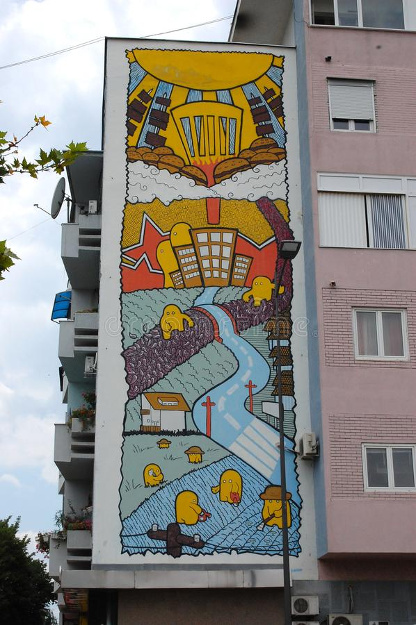 Pintura mural na construção, arte da parede fotografia de stock