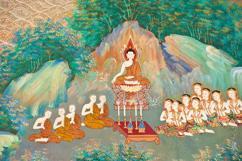 Pintura mural na parede da igreja budista fotos de stock